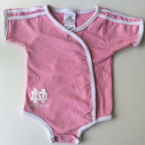 Adidas Notre Dame Pink Baby Girl Romper | 12 Mos.